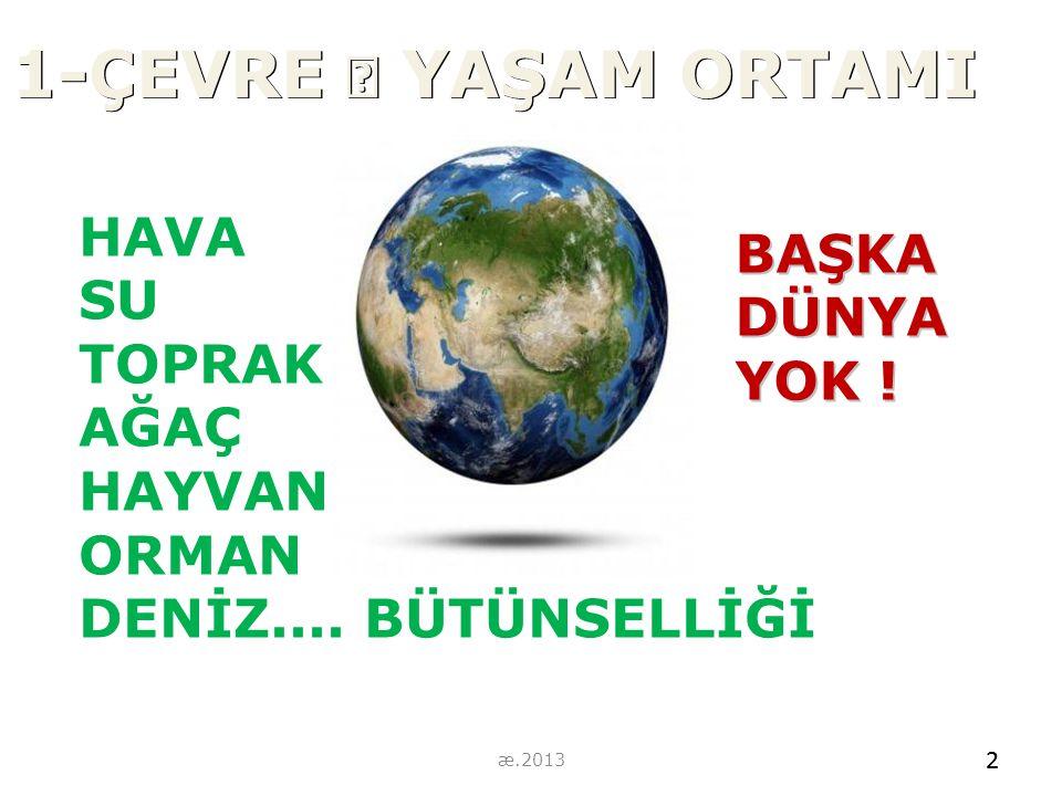 1-ÇEVRE  YAŞAM ORTAMI HAVA SU TOPRAK AĞAÇ HAYVAN ORMAN DENİZ.... BÜTÜNSELLİĞİ 2 BAŞKADÜNYA YOK ! 2 æ.2013