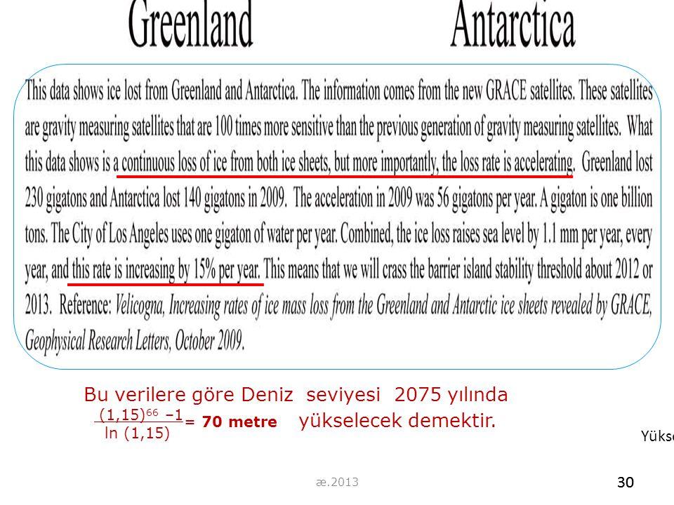 30 Bu verilere göre Deniz seviyesi 2075 yılında (1,15) 66 –1 ln (1,15) = 70 metre yükselecek demektir. Yükselecek demektir. 30 æ.2013