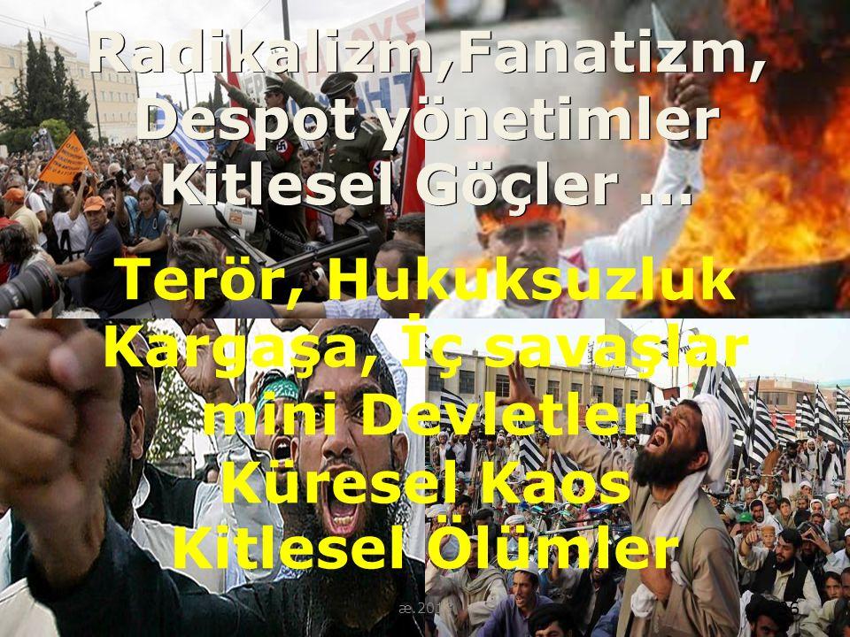 36 Radikalizm,Fanatizm, Despot yönetimler Kitlesel Göçler … 36 æ.2013 Terör, Hukuksuzluk Kargaşa, İç savaşlar mini Devletler Küresel Kaos Kitlesel Ölü
