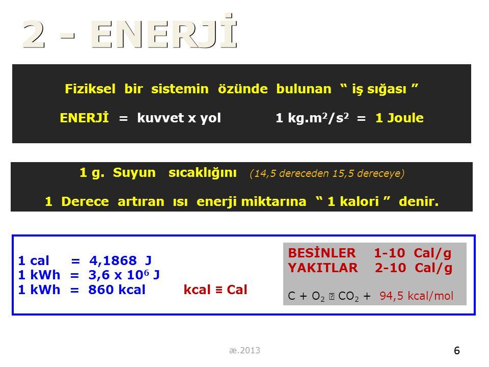 """Fiziksel bir sistemin özünde bulunan """" iş sığası """" ENERJİ = kuvvet x yol 1 kg.m 2 /s 2 = 1 Joule 1 g. Suyun sıcaklığını (14,5 dereceden 15,5 dereceye)"""