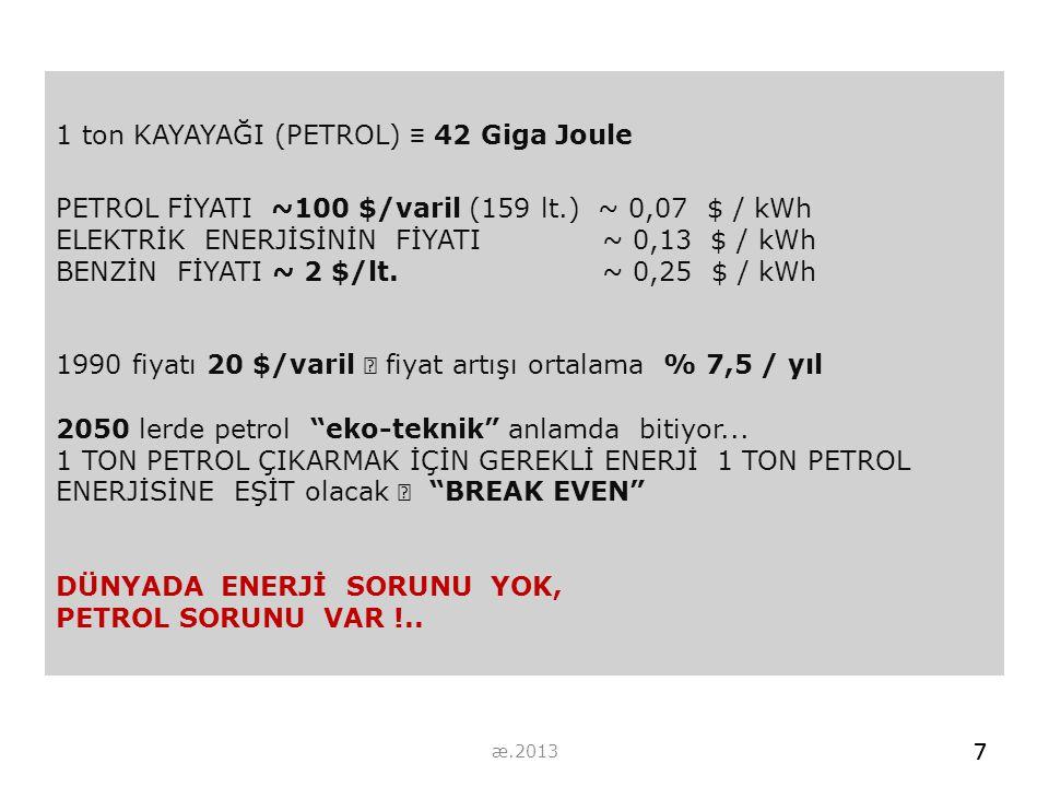 1 ton KAYAYAĞI (PETROL) ≡ 42 Giga Joule PETROL FİYATI ~100 $/varil (159 lt.) ~ 0,07 $ / kWh ELEKTRİK ENERJİSİNİN FİYATI ~ 0,13 $ / kWh BENZİN FİYATI ~