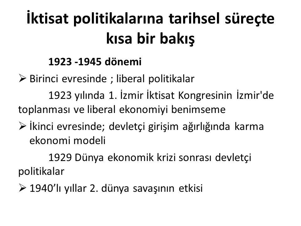 İktisat politikalarına tarihsel süreçte kısa bir bakış 1923 -1945 dönemi  Birinci evresinde ; liberal politikalar 1923 yılında 1. İzmir İktisat Kongr