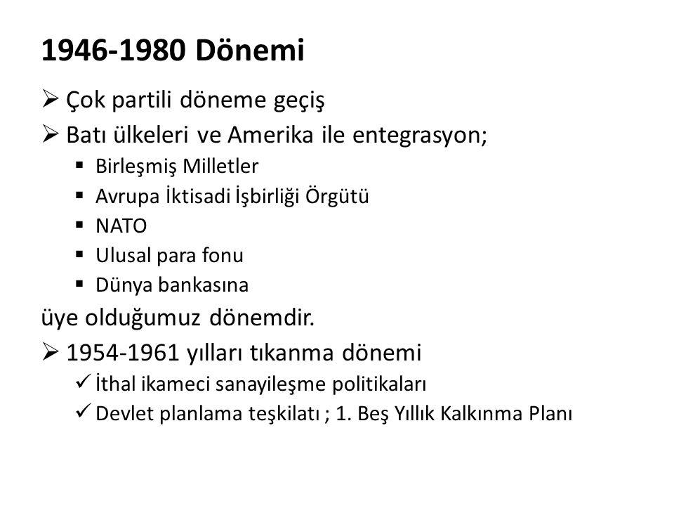 1946-1980 Dönemi  Çok partili döneme geçiş  Batı ülkeleri ve Amerika ile entegrasyon;  Birleşmiş Milletler  Avrupa İktisadi İşbirliği Örgütü  NAT
