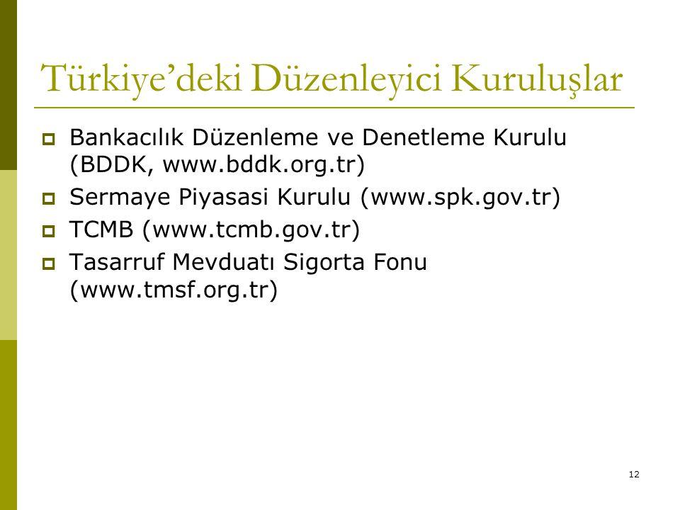12 Türkiye'deki Düzenleyici Kuruluşlar  Bankacılık Düzenleme ve Denetleme Kurulu (BDDK, www.bddk.org.tr)  Sermaye Piyasasi Kurulu (www.spk.gov.tr)  TCMB (www.tcmb.gov.tr)  Tasarruf Mevduatı Sigorta Fonu (www.tmsf.org.tr)