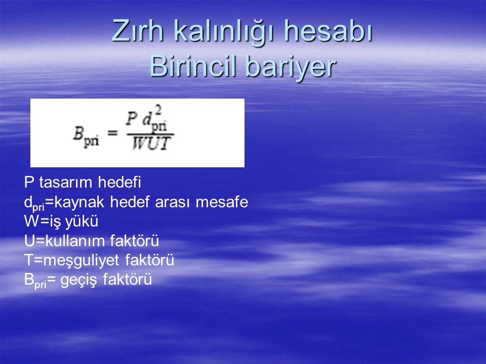 Zırh kalınlığı hesabı Birincil bariyer P tasarım hedefi d pri =kaynak hedef arası mesafe W=iş yükü U=kullanım faktörü T=meşguliyet faktörü B pri = geç