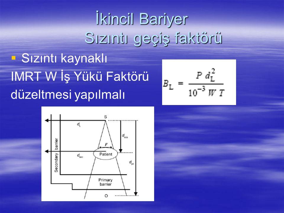   Sızıntı kaynaklı IMRT W İş Yükü Faktörü düzeltmesi yapılmalı İkincil Bariyer Sızıntı geçiş faktörü