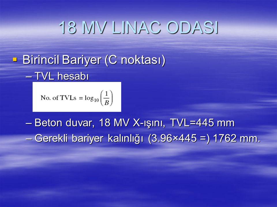 18 MV LINAC ODASI  Birincil Bariyer (C noktası) –TVL hesabı –Beton duvar, 18 MV X-ışını, TVL=445 mm –Gerekli bariyer kalınlığı (3.96×445 =) 1762 mm.