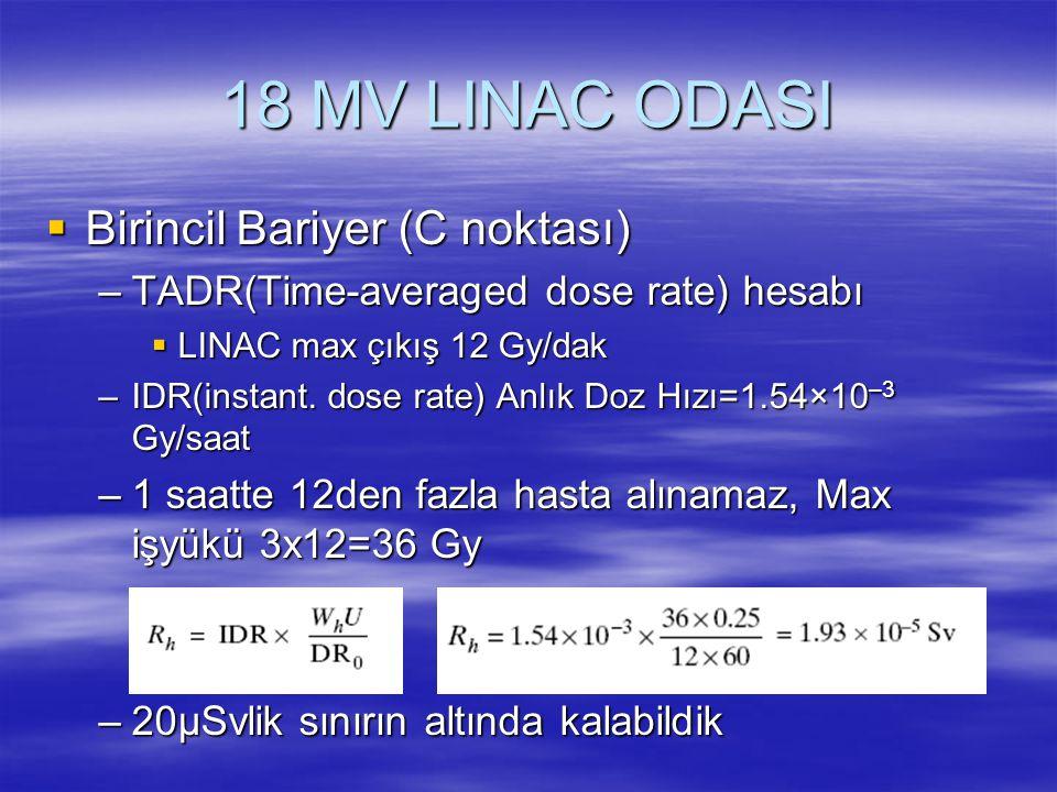18 MV LINAC ODASI  Birincil Bariyer (C noktası) –TADR(Time-averaged dose rate) hesabı  LINAC max çıkış 12 Gy/dak –IDR(instant. dose rate) Anlık Doz