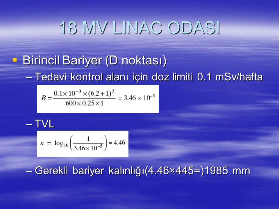 18 MV LINAC ODASI  Birincil Bariyer (D noktası) –Tedavi kontrol alanı için doz limiti 0.1 mSv/hafta –TVL –Gerekli bariyer kalınlığı(4.46×445=)1985 mm