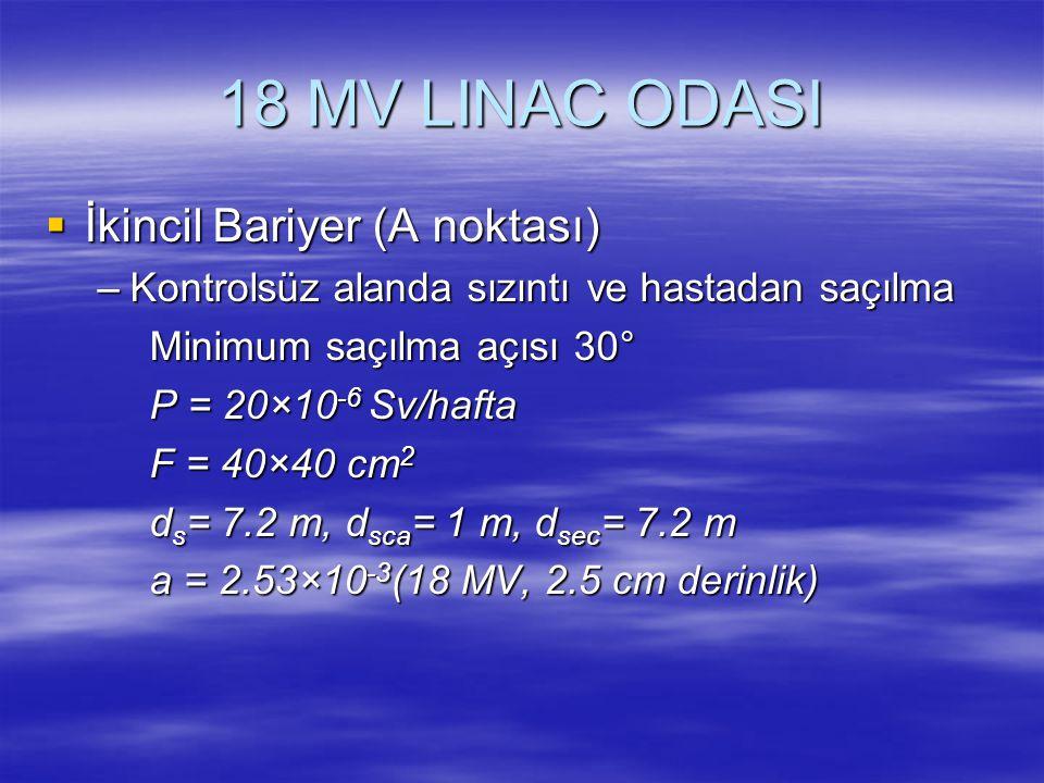 18 MV LINAC ODASI  İkincil Bariyer (A noktası) –Kontrolsüz alanda sızıntı ve hastadan saçılma Minimum saçılma açısı 30° P = 20×10 -6 Sv/hafta F = 40×