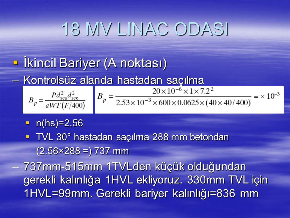 18 MV LINAC ODASI  İkincil Bariyer (A noktası) –Kontrolsüz alanda hastadan saçılma   n(hs)=2.56  TVL 30° hastadan saçılma 288 mm betondan (2.56×28
