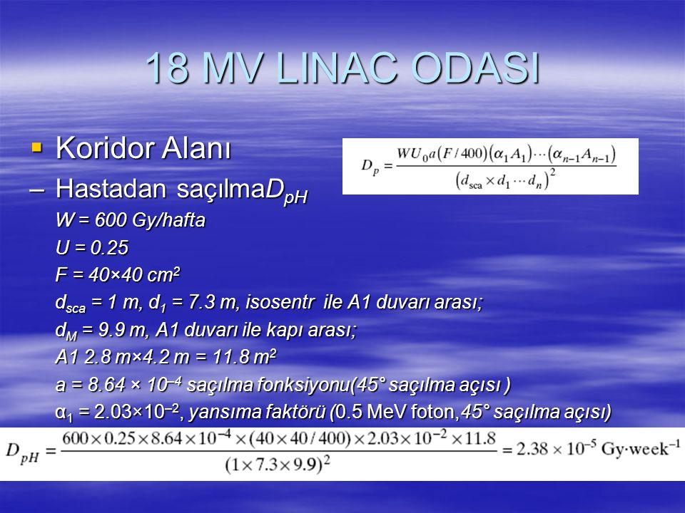 18 MV LINAC ODASI  Koridor Alanı –Hastadan saçılmaD pH W = 600 Gy/hafta U = 0.25 F = 40×40 cm 2 d sca = 1 m, d 1 = 7.3 m, isosentr ile A1 duvarı aras