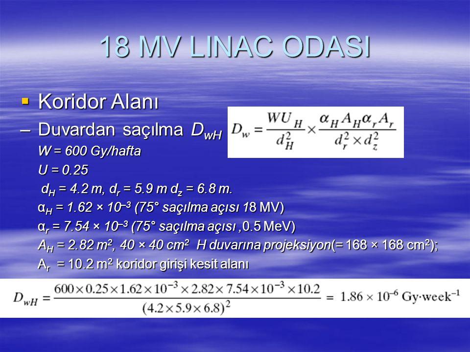 18 MV LINAC ODASI  Koridor Alanı –Duvardan saçılma D wH W = 600 Gy/hafta U = 0.25 d H = 4.2 m, d r = 5.9 m d z = 6.8 m. d H = 4.2 m, d r = 5.9 m d z