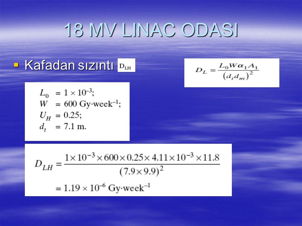 18 MV LINAC ODASI  Kafadan sızıntı