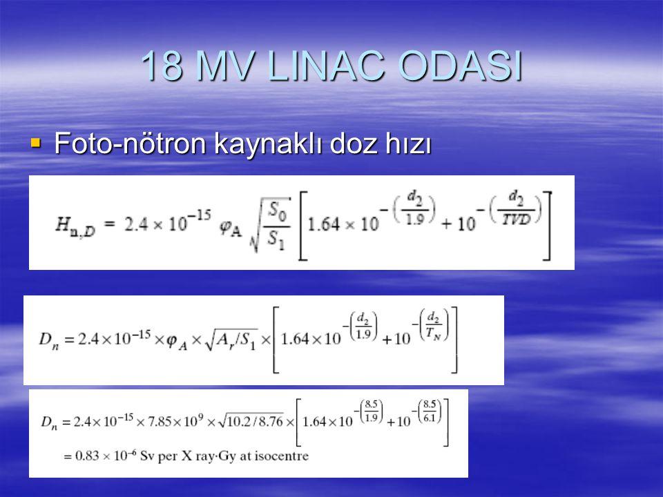 18 MV LINAC ODASI  Foto-nötron kaynaklı doz hızı