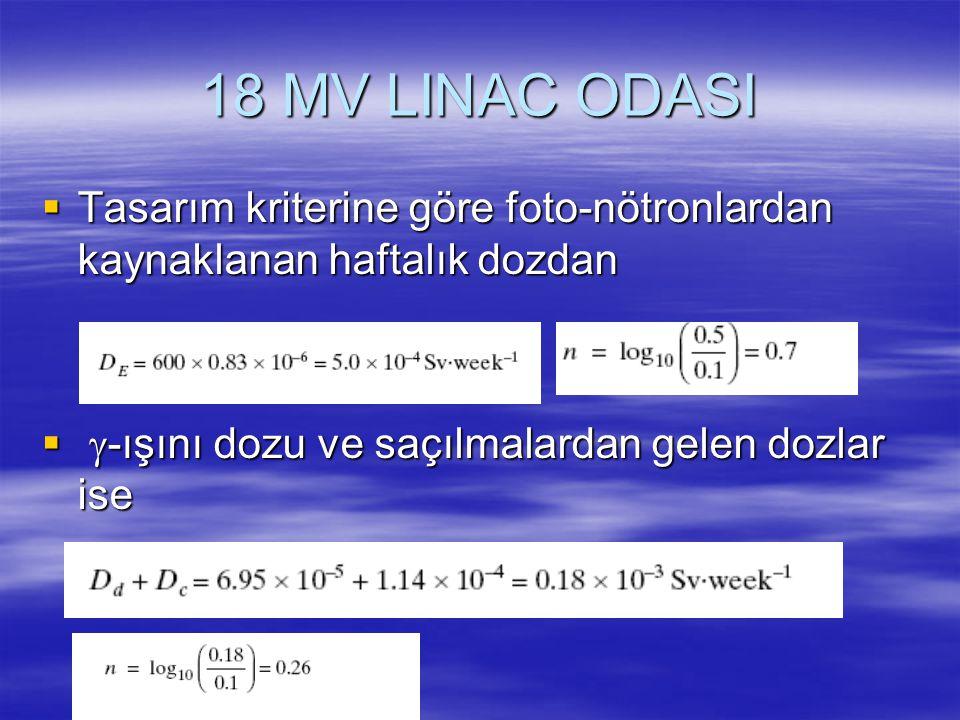 18 MV LINAC ODASI  Tasarım kriterine göre foto-nötronlardan kaynaklanan haftalık dozdan   -ışını dozu ve saçılmalardan gelen dozlar ise