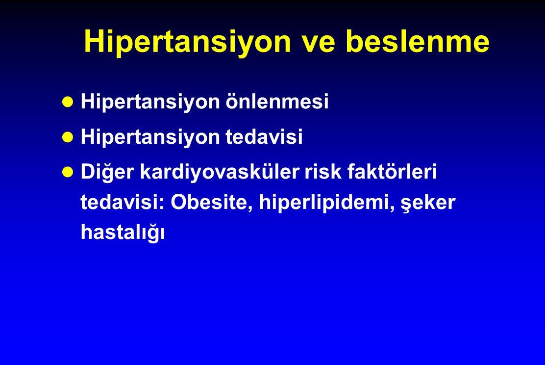 Hipertansiyon ve beslenme l Hipertansiyon önlenmesi l Hipertansiyon tedavisi l Diğer kardiyovasküler risk faktörleri tedavisi: Obesite, hiperlipidemi,