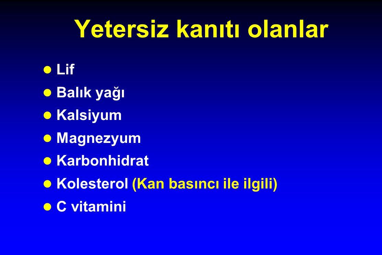 Yetersiz kanıtı olanlar l Lif l Balık yağı l Kalsiyum l Magnezyum l Karbonhidrat l Kolesterol (Kan basıncı ile ilgili) l C vitamini