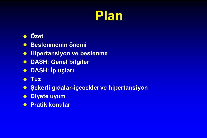 Plan l Özet l Beslenmenin önemi l Hipertansiyon ve beslenme l DASH: Genel bilgiler l DASH: İp uçları l Tuz l Şekerli gıdalar-içecekler ve hipertansiyo