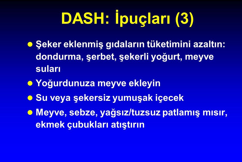 DASH: İpuçları (3) l Şeker eklenmiş gıdaların tüketimini azaltın: dondurma, şerbet, şekerli yoğurt, meyve suları l Yoğurdunuza meyve ekleyin l Su veya