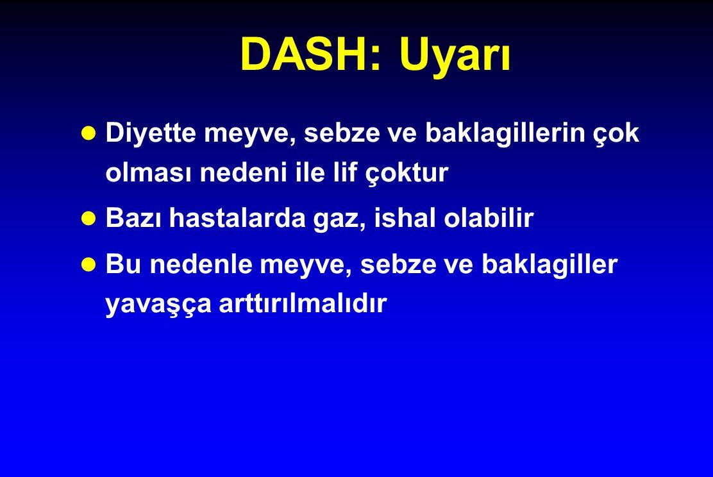 DASH: Uyarı l Diyette meyve, sebze ve baklagillerin çok olması nedeni ile lif çoktur l Bazı hastalarda gaz, ishal olabilir l Bu nedenle meyve, sebze v