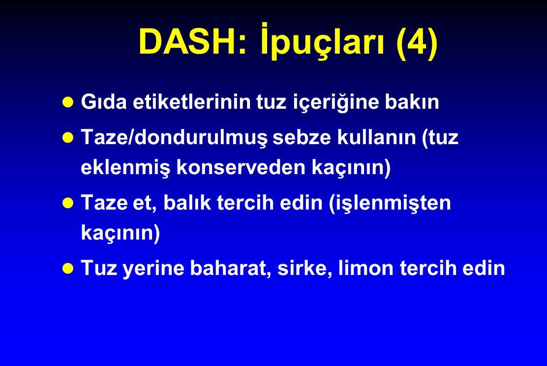 DASH: İpuçları (4) l Gıda etiketlerinin tuz içeriğine bakın l Taze/dondurulmuş sebze kullanın (tuz eklenmiş konserveden kaçının) l Taze et, balık terc