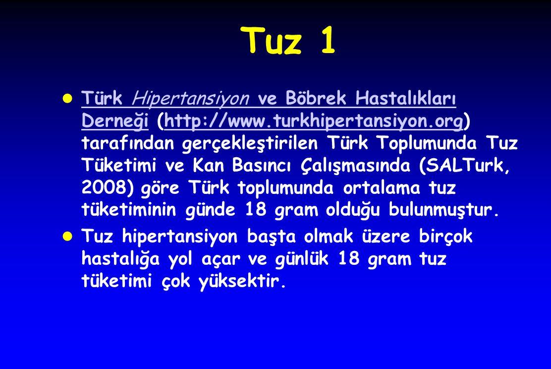 Tuz 1 l Türk Hipertansiyon ve Böbrek Hastalıkları Derneği (http://www.turkhipertansiyon.org) tarafından gerçekleştirilen Türk Toplumunda Tuz Tüketimi