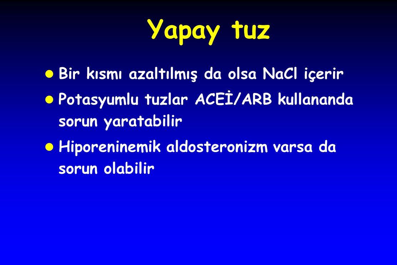 Yapay tuz l Bir kısmı azaltılmış da olsa NaCl içerir l Potasyumlu tuzlar ACEİ/ARB kullananda sorun yaratabilir l Hiporeninemik aldosteronizm varsa da