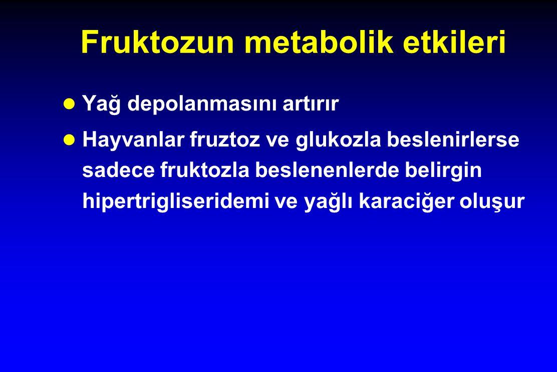 Fruktozun metabolik etkileri l Yağ depolanmasını artırır l Hayvanlar fruztoz ve glukozla beslenirlerse sadece fruktozla beslenenlerde belirgin hipertr