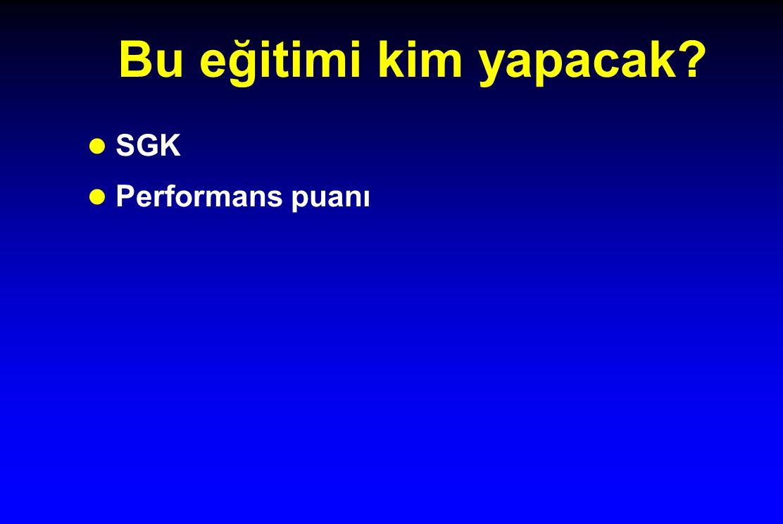 Bu eğitimi kim yapacak? l SGK l Performans puanı