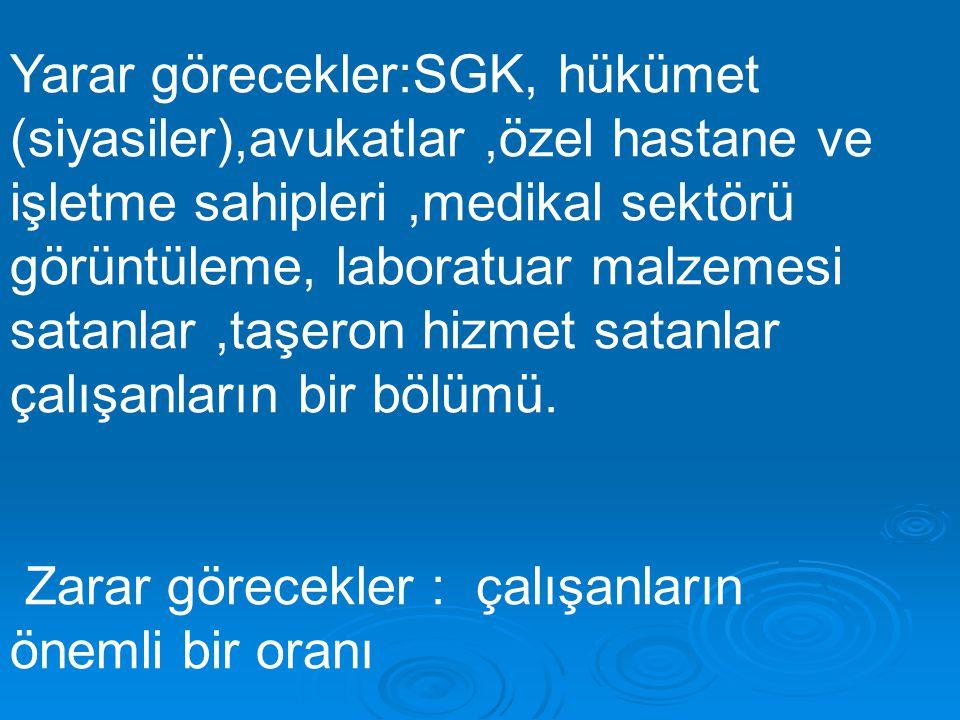 Yarar görecekler:SGK, hükümet (siyasiler),avukatlar,özel hastane ve işletme sahipleri,medikal sektörü görüntüleme, laboratuar malzemesi satanlar,taşeron hizmet satanlar çalışanların bir bölümü.