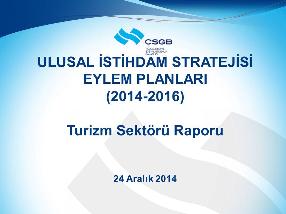 ULUSAL İSTİHDAM STRATEJİSİ EYLEM PLANLARI (2014-2016) Turizm Sektörü Raporu 24 Aralık 2014