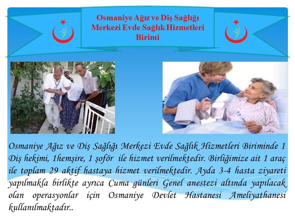 Osmaniye Ağız ve Diş Sağlığı Merkezi Evde Sağlık Hizmetleri Birimi Osmaniye Ağız ve Diş Sağlığı Merkezi Evde Sağlık Hizmetleri Biriminde 1 Diş hekimi,