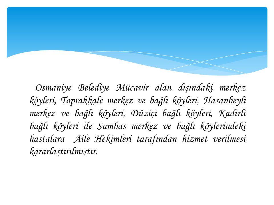 Osmaniye Belediye Mücavir alan dışındaki merkez köyleri, Toprakkale merkez ve bağlı köyleri, Hasanbeyli merkez ve bağlı köyleri, Düziçi bağlı köyleri,