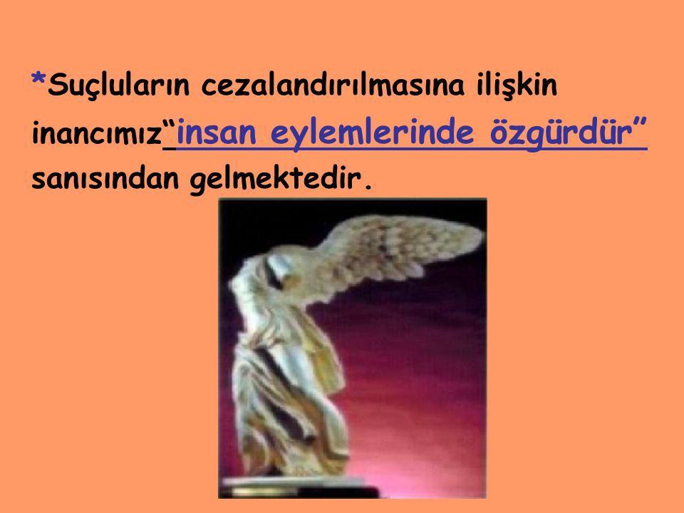 www.ismailbilgin.com *Suçluların cezalandırılmasına ilişkin inancımız insan eylemlerinde özgürdür sanısından gelmektedir.
