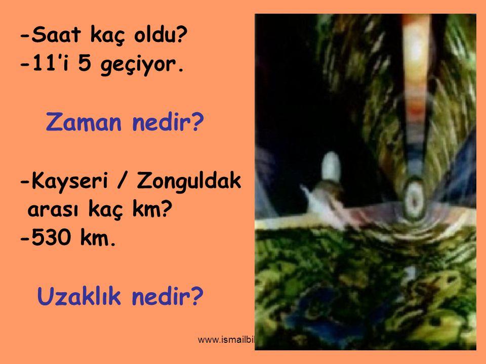 www.ismailbilgin.com -Saat kaç oldu? -11'i 5 geçiyor. Zaman nedir? -Kayseri / Zonguldak arası kaç km? -530 km. Uzaklık nedir?