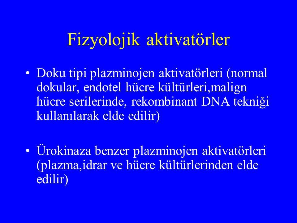 Fizyolojik aktivatörler Doku tipi plazminojen aktivatörleri (normal dokular, endotel hücre kültürleri,malign hücre serilerinde, rekombinant DNA tekniğ