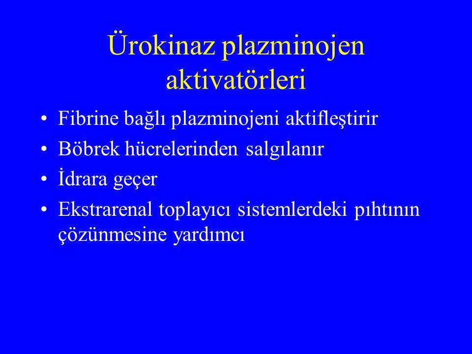 Ürokinaz plazminojen aktivatörleri Fibrine bağlı plazminojeni aktifleştirir Böbrek hücrelerinden salgılanır İdrara geçer Ekstrarenal toplayıcı sisteml