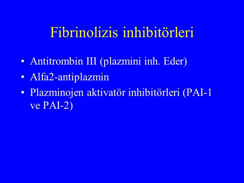 Fibrinolizis inhibitörleri Antitrombin III (plazmini inh. Eder) Alfa2-antiplazmin Plazminojen aktivatör inhibitörleri (PAI-1 ve PAI-2)