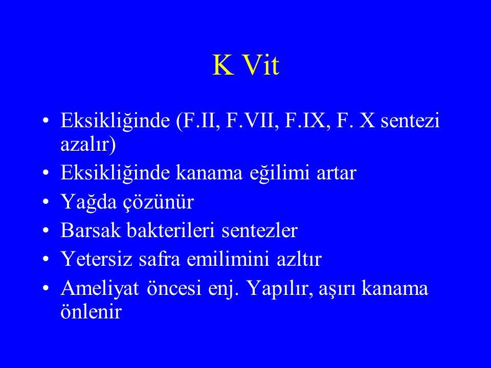 K Vit Eksikliğinde (F.II, F.VII, F.IX, F. X sentezi azalır) Eksikliğinde kanama eğilimi artar Yağda çözünür Barsak bakterileri sentezler Yetersiz safr