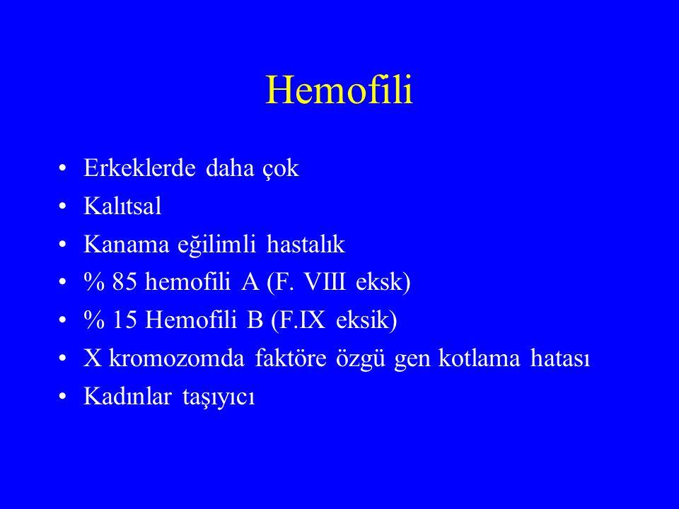 Hemofili Erkeklerde daha çok Kalıtsal Kanama eğilimli hastalık % 85 hemofili A (F. VIII eksk) % 15 Hemofili B (F.IX eksik) X kromozomda faktöre özgü g