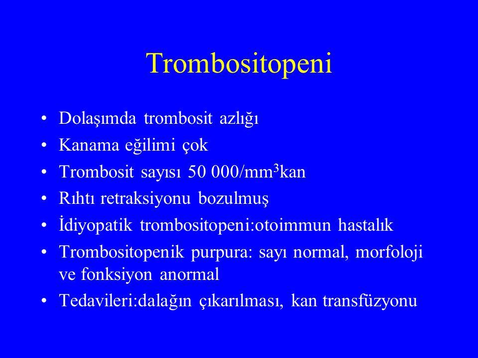 Trombositopeni Dolaşımda trombosit azlığı Kanama eğilimi çok Trombosit sayısı 50 000/mm 3 kan Rıhtı retraksiyonu bozulmuş İdiyopatik trombositopeni:ot