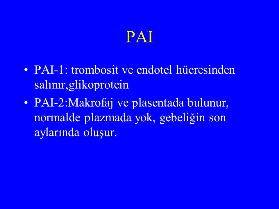 PAI PAI-1: trombosit ve endotel hücresinden salınır,glikoprotein PAI-2:Makrofaj ve plasentada bulunur, normalde plazmada yok, gebeliğin son aylarında