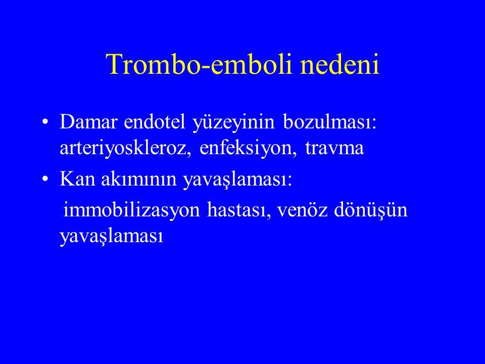 Trombo-emboli nedeni Damar endotel yüzeyinin bozulması: arteriyoskleroz, enfeksiyon, travma Kan akımının yavaşlaması: immobilizasyon hastası, venöz dö