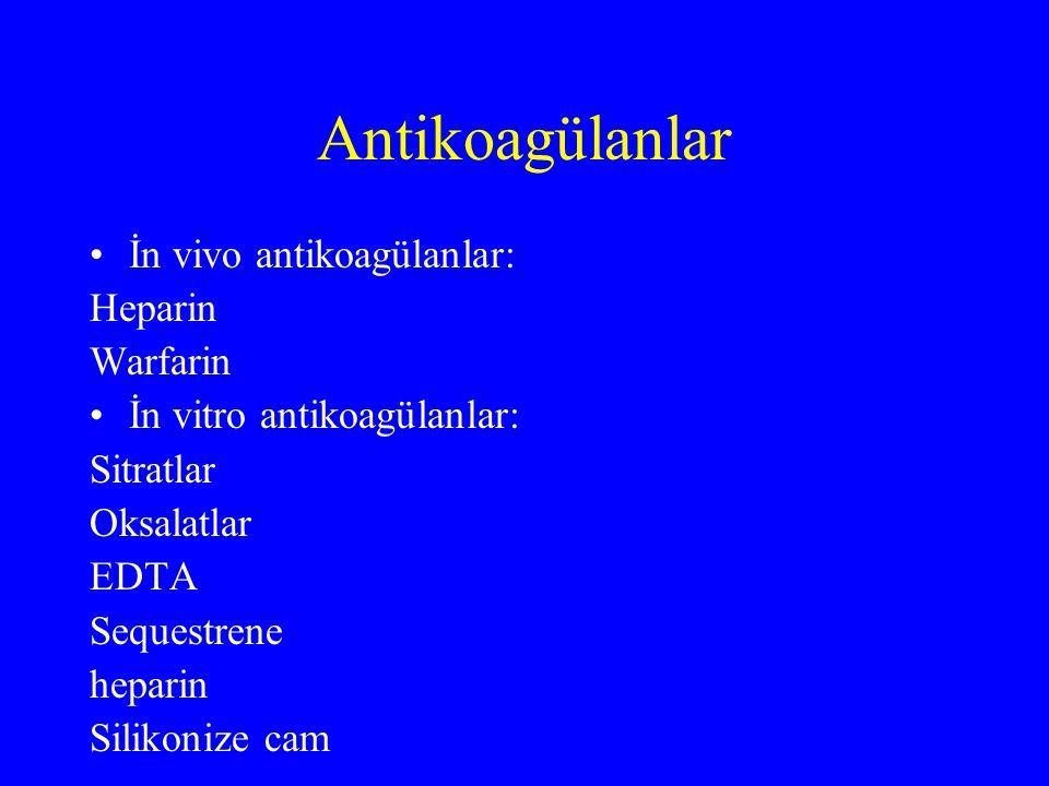 Antikoagülanlar İn vivo antikoagülanlar: Heparin Warfarin İn vitro antikoagülanlar: Sitratlar Oksalatlar EDTA Sequestrene heparin Silikonize cam