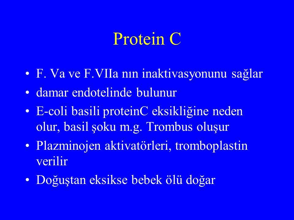 Protein C F. Va ve F.VIIa nın inaktivasyonunu sağlar damar endotelinde bulunur E-coli basili proteinC eksikliğine neden olur, basil şoku m.g. Trombus