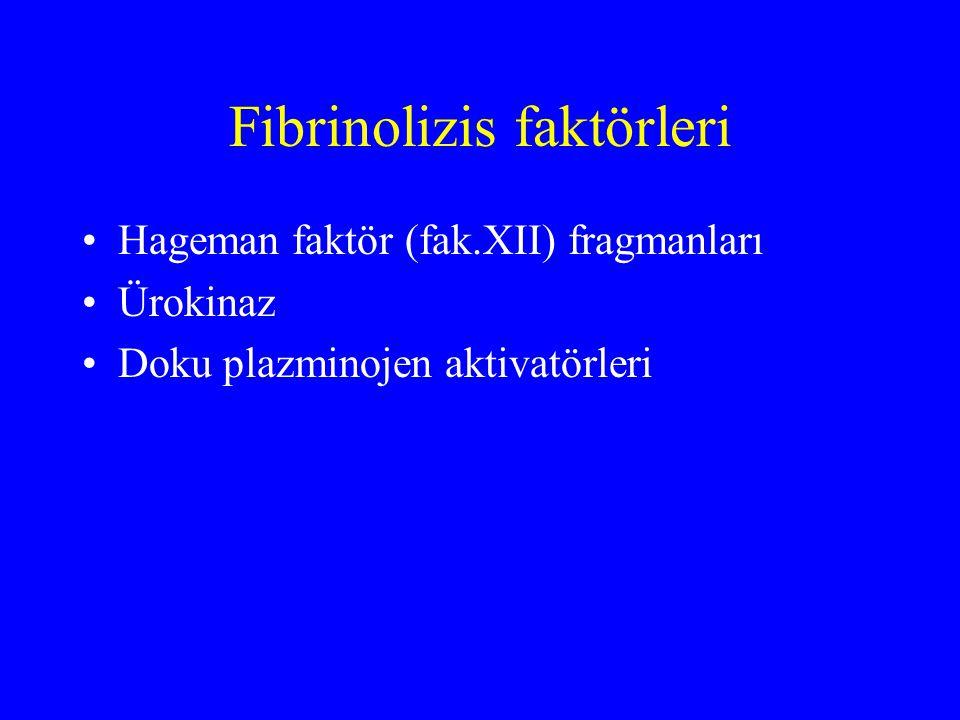 Fibrinolizis faktörleri Hageman faktör (fak.XII) fragmanları Ürokinaz Doku plazminojen aktivatörleri