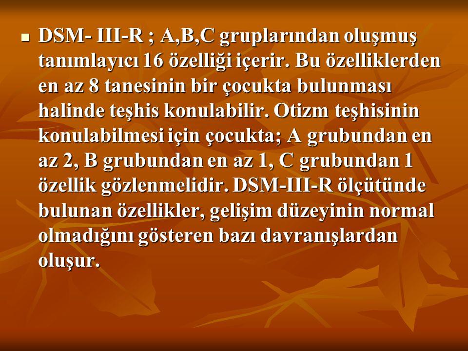 DSM- III-R ; A,B,C gruplarından oluşmuş tanımlayıcı 16 özelliği içerir. Bu özelliklerden en az 8 tanesinin bir çocukta bulunması halinde teşhis konula