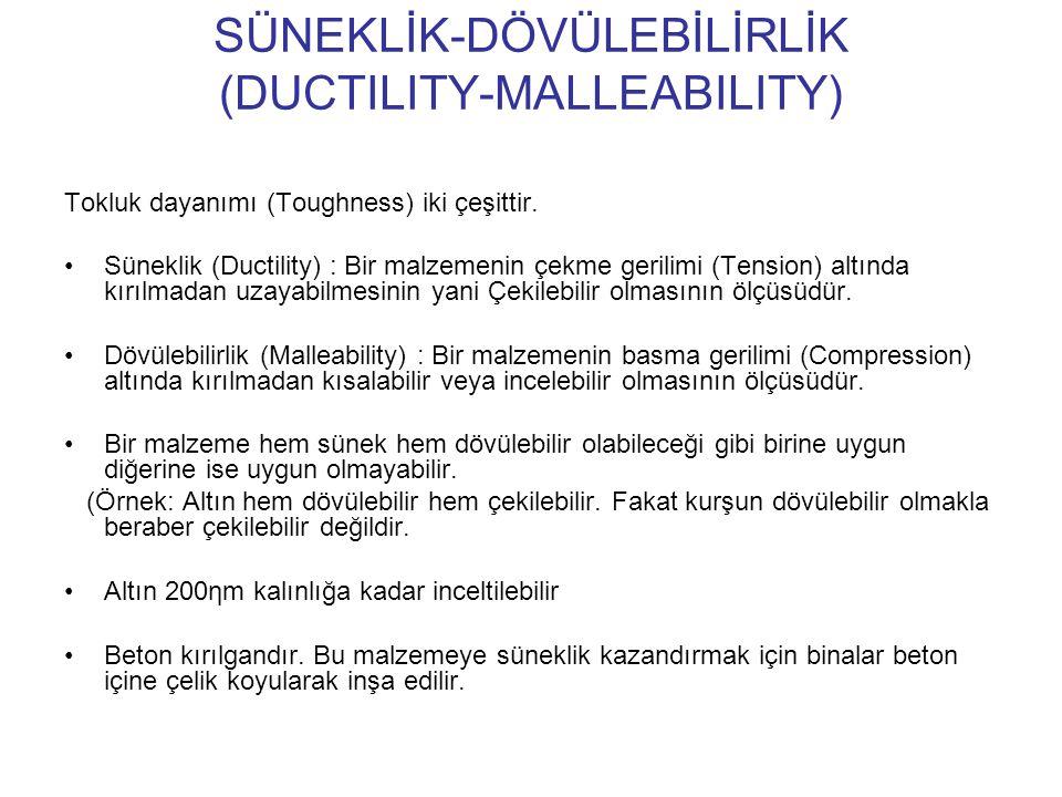 SÜNEKLİK-DÖVÜLEBİLİRLİK (DUCTILITY-MALLEABILITY) Tokluk dayanımı (Toughness) iki çeşittir. Süneklik (Ductility) : Bir malzemenin çekme gerilimi (Tensi