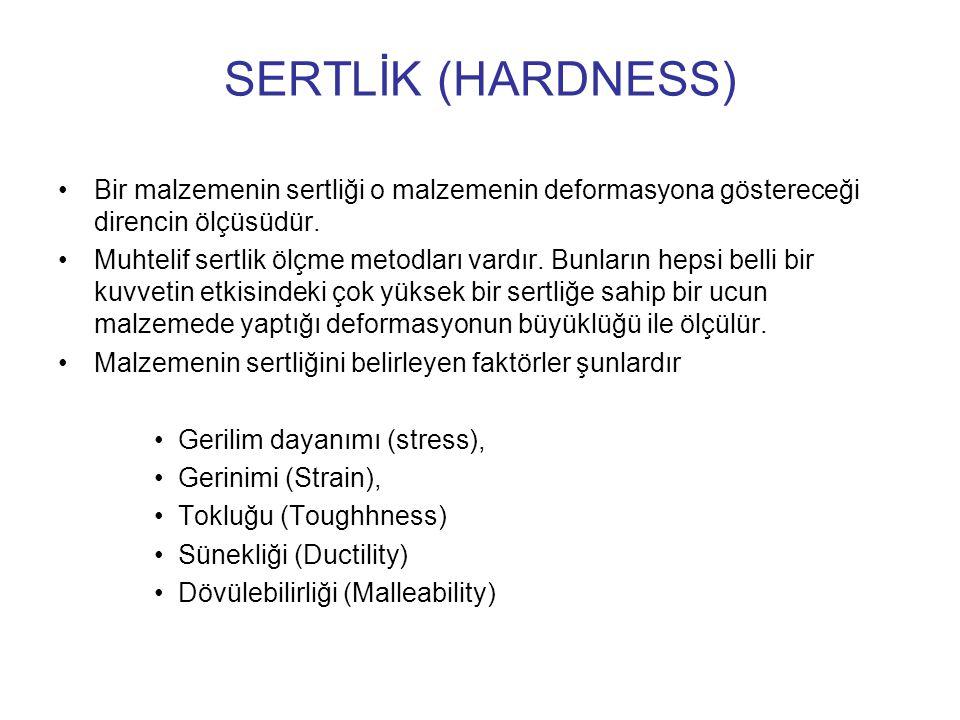 SERTLİK (HARDNESS) Bir malzemenin sertliği o malzemenin deformasyona göstereceği direncin ölçüsüdür. Muhtelif sertlik ölçme metodları vardır. Bunların